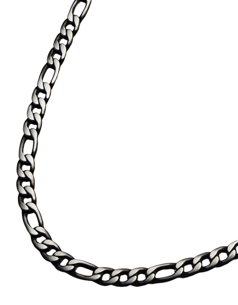 Men's 9mm Brushed Black Stainless Steel Figaro Link Chain Necklace