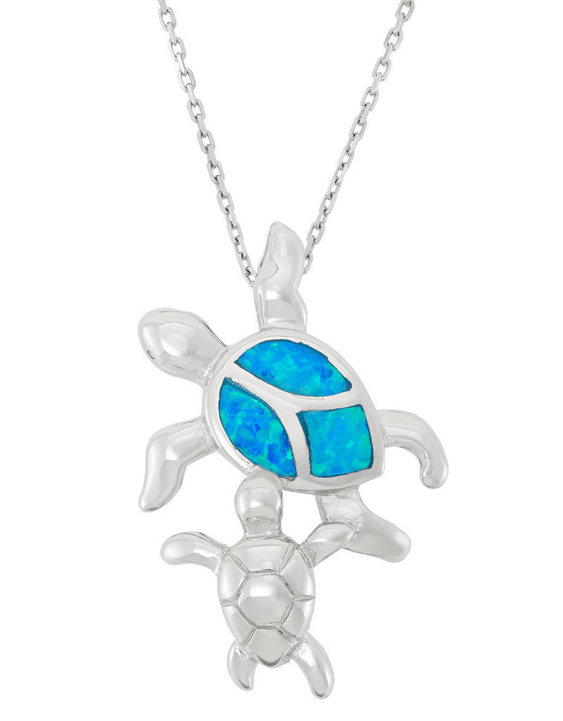 Sterling Silver 2-Turtle Synthetic Blue Opal Pendant 27mm