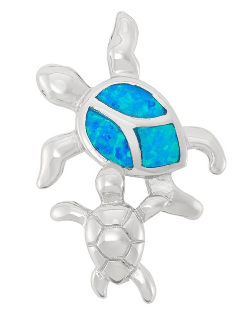 2-Turtle Opal Pendant 27mm