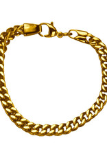 Men's 6mm Gold Stainless Steel Franco Link Chain Bracelet 8.5""