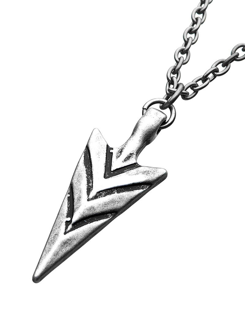 Men's Antiqued Stainless Steel Arrowhead Necklace 26""