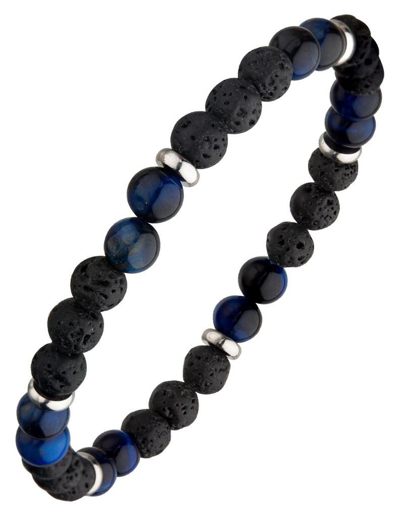 Lava Blue Tiger Eye Bead Stretch Bracelet