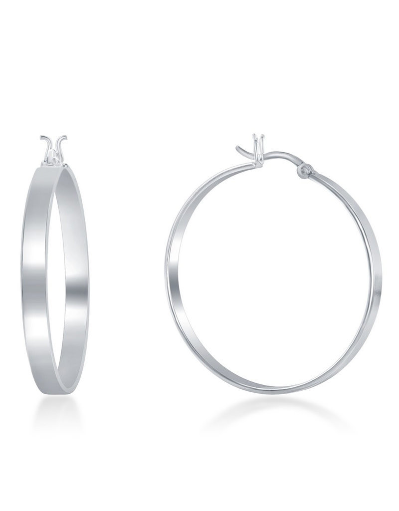 Sterling Silver 4x30mm Flat Hoop Earrings