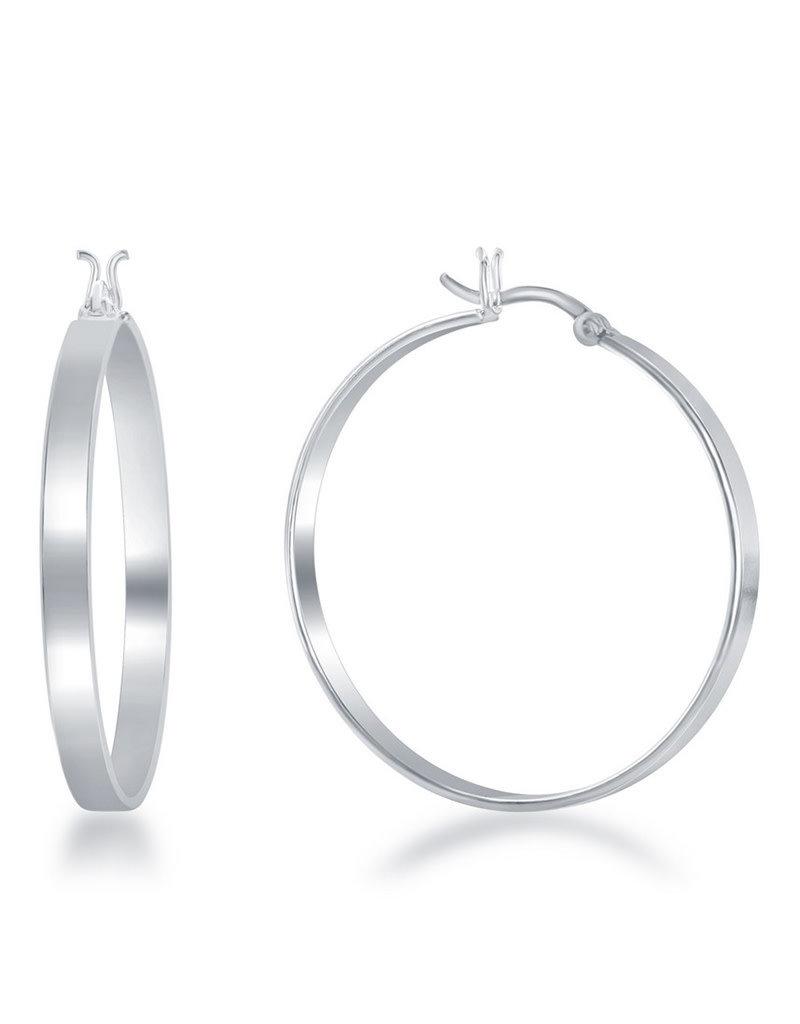 Sterling Silver 4x35mm Flat Hoop Earrings