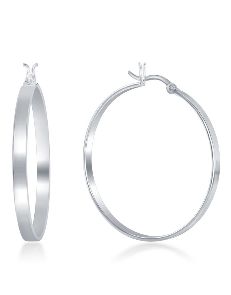 4x40mm Flat Hoop Earrings