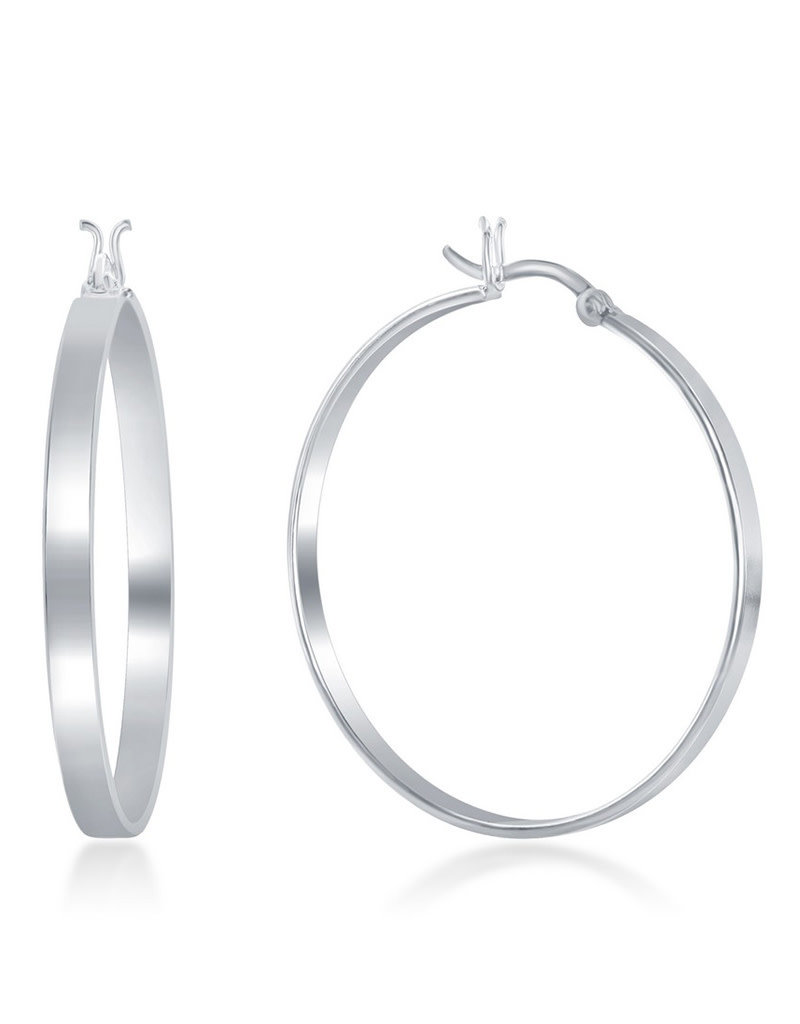 Sterling Silver 4x40mm Flat Hoop Earrings