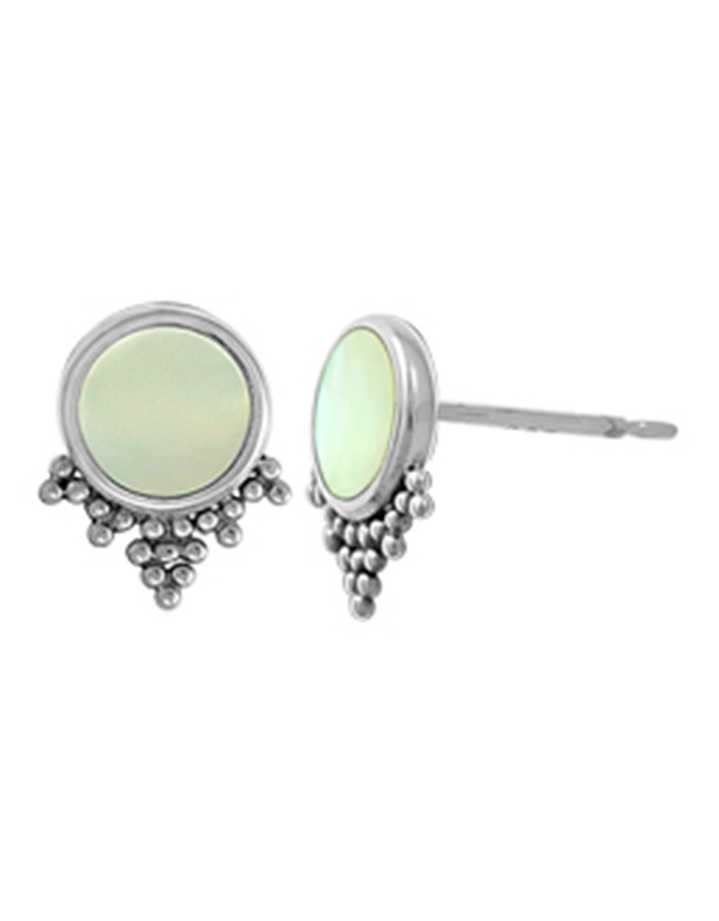 Round MOP Stud Earrings 9mm