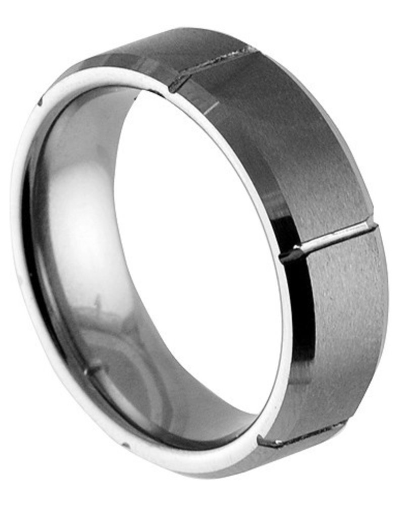 Men's Tungsten Brushed Notched Band Ring