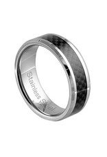 Men's Stainless Steel with Carbon Fiber Inlay Band Ring