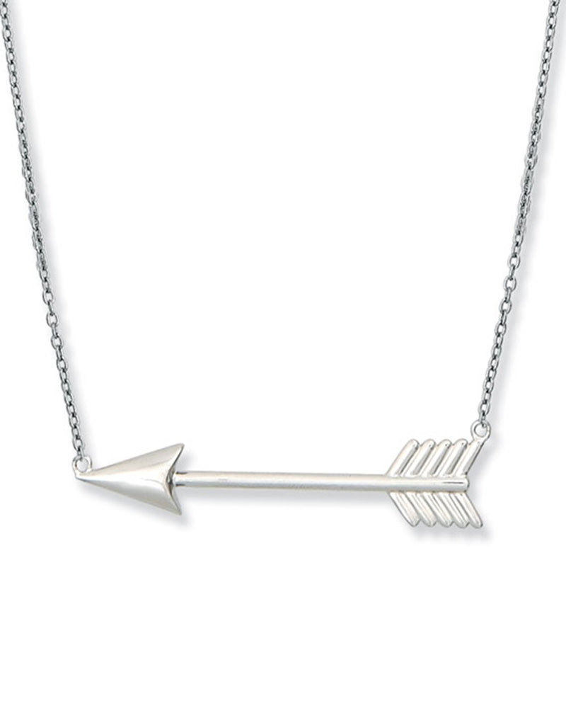 Sterling Silver Arrow Bar Necklace 18""