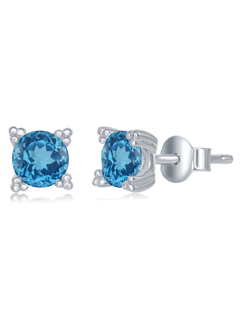 5mm Round Blue Topaz Stud Earrings