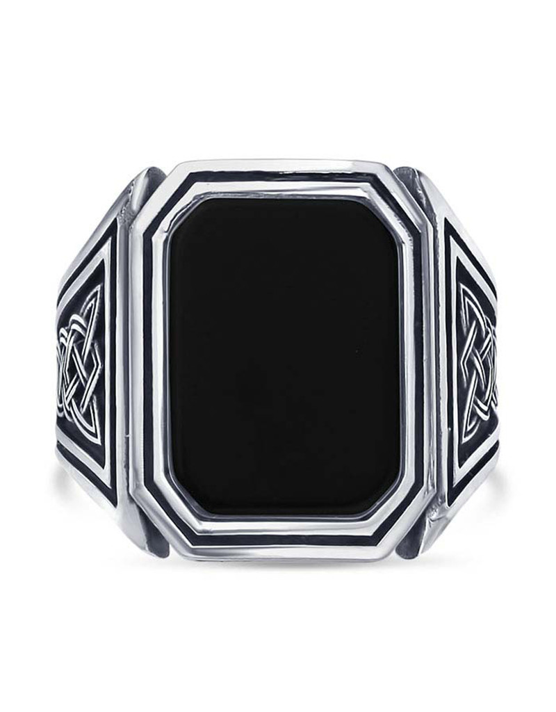Octagon Black Onyx Ring