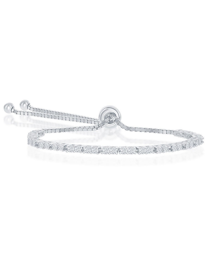 Sterling Silver 2mm CZ Bolo Tennis Bracelet