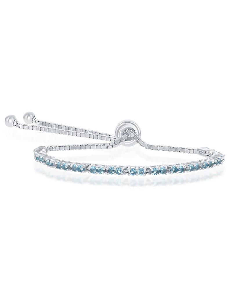 Sterling Silver 2mm Lt Blue CZ Bolo Tennis Bracelet
