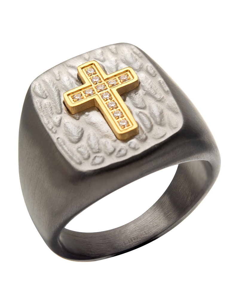 Gold Plated Cross CZ Signet Ring