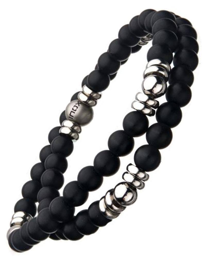 Double Wrap Onyx Stretch Bracelet