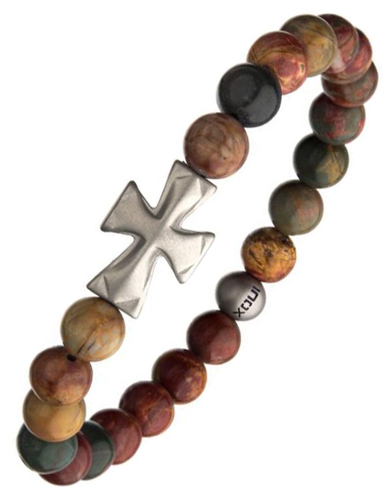 Steel Cross Jasper Stretch Bracelet