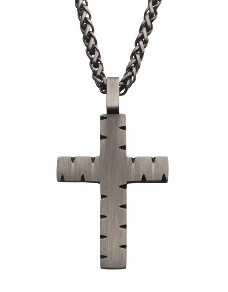 Gunmetal Chiseled Cross Necklace