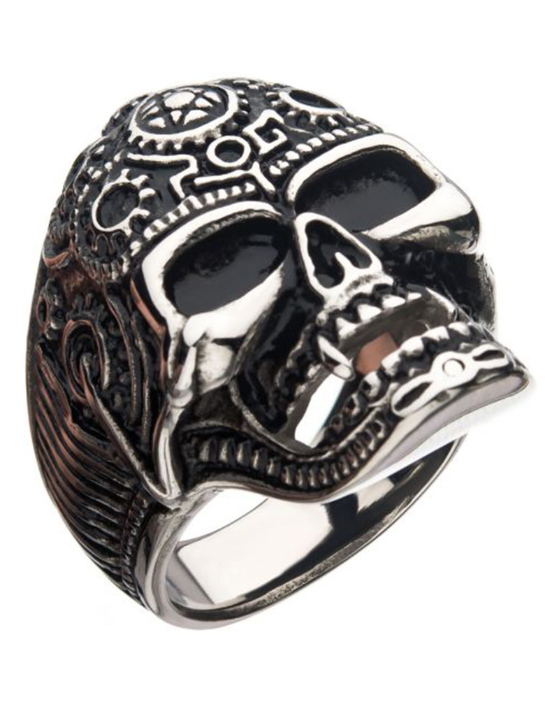 Oxidized Steel Vampire Skull Ring