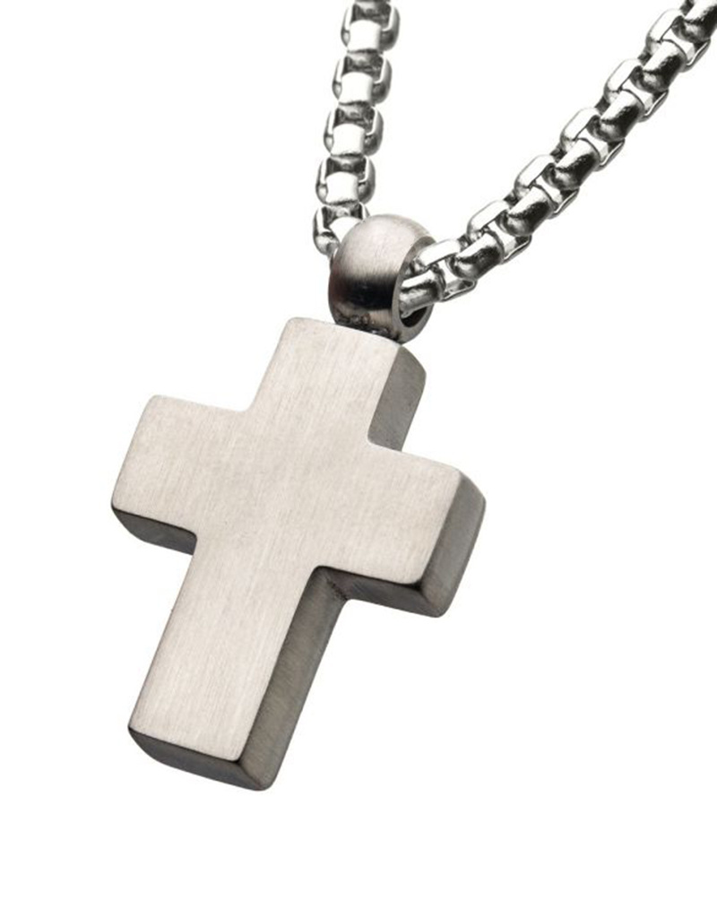 Brushed Steel Cross Neckalce
