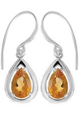 Sterling Silver Teardrop Citrine Earrings