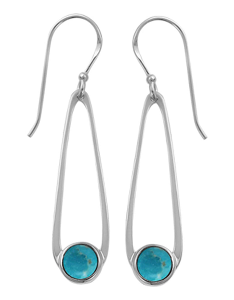 Teardrop with Round Turquoise Earrings