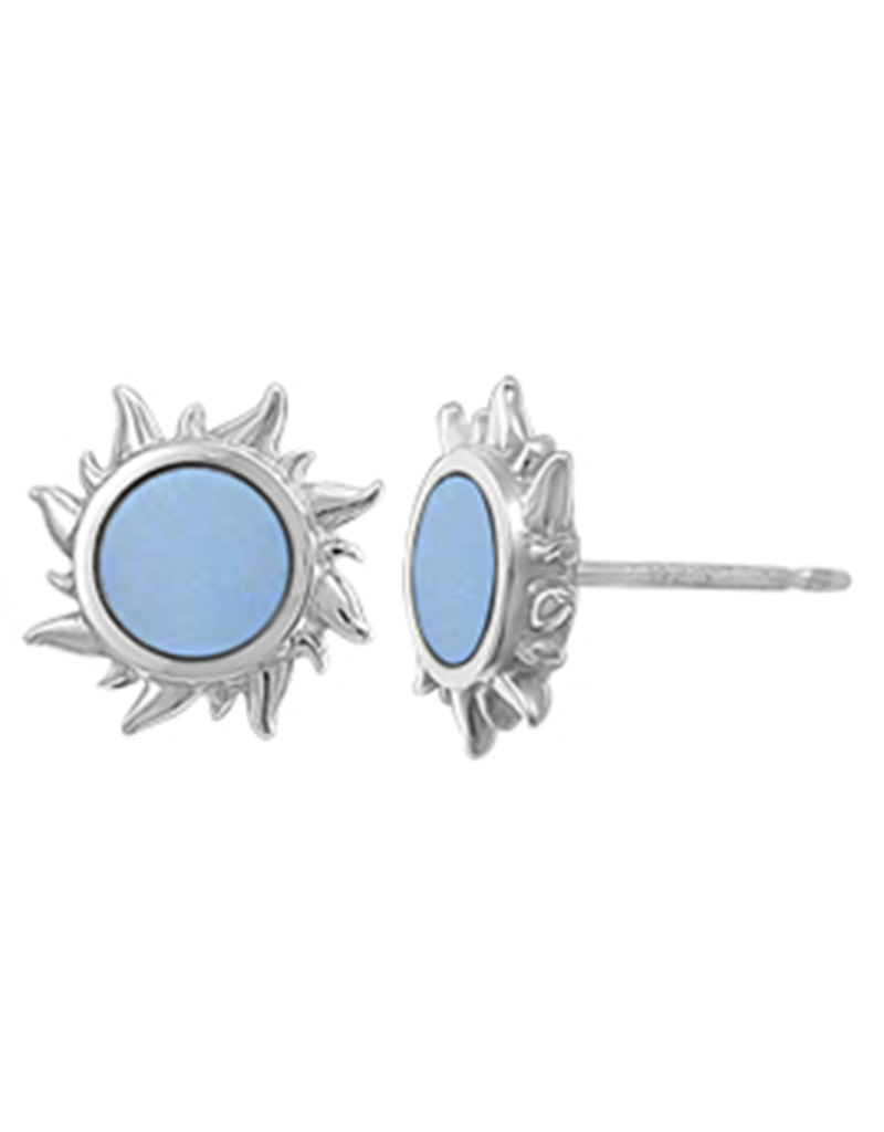 Sun Blue MOP Stud Earrings 10mm