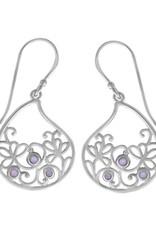 Sterling Silver Purple Mother of Pearl Scroll Design Teardrop Earrings