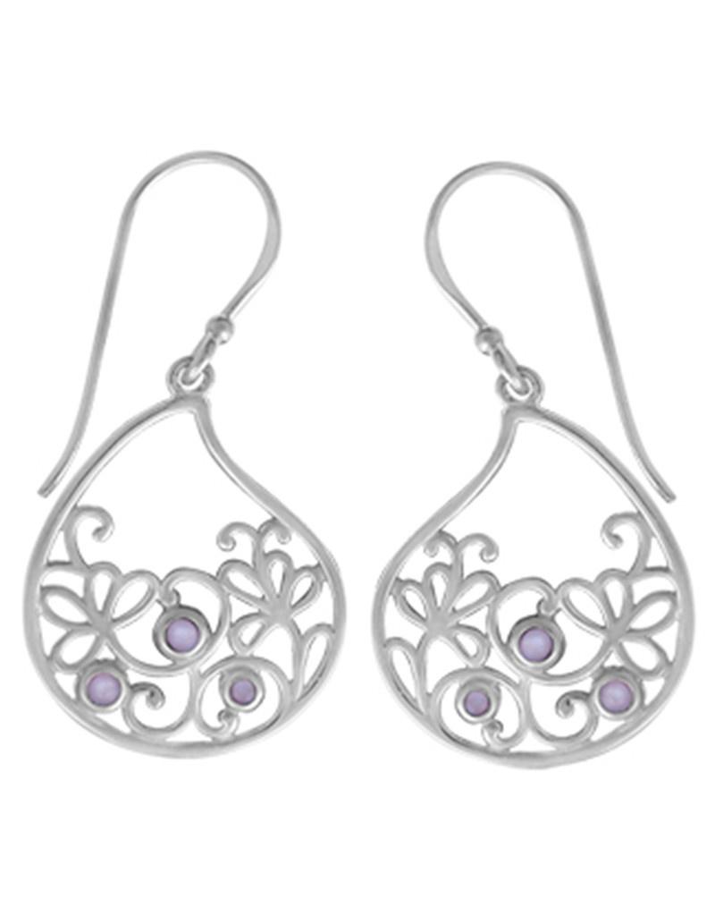 Purple MOP Scroll Design Earrings