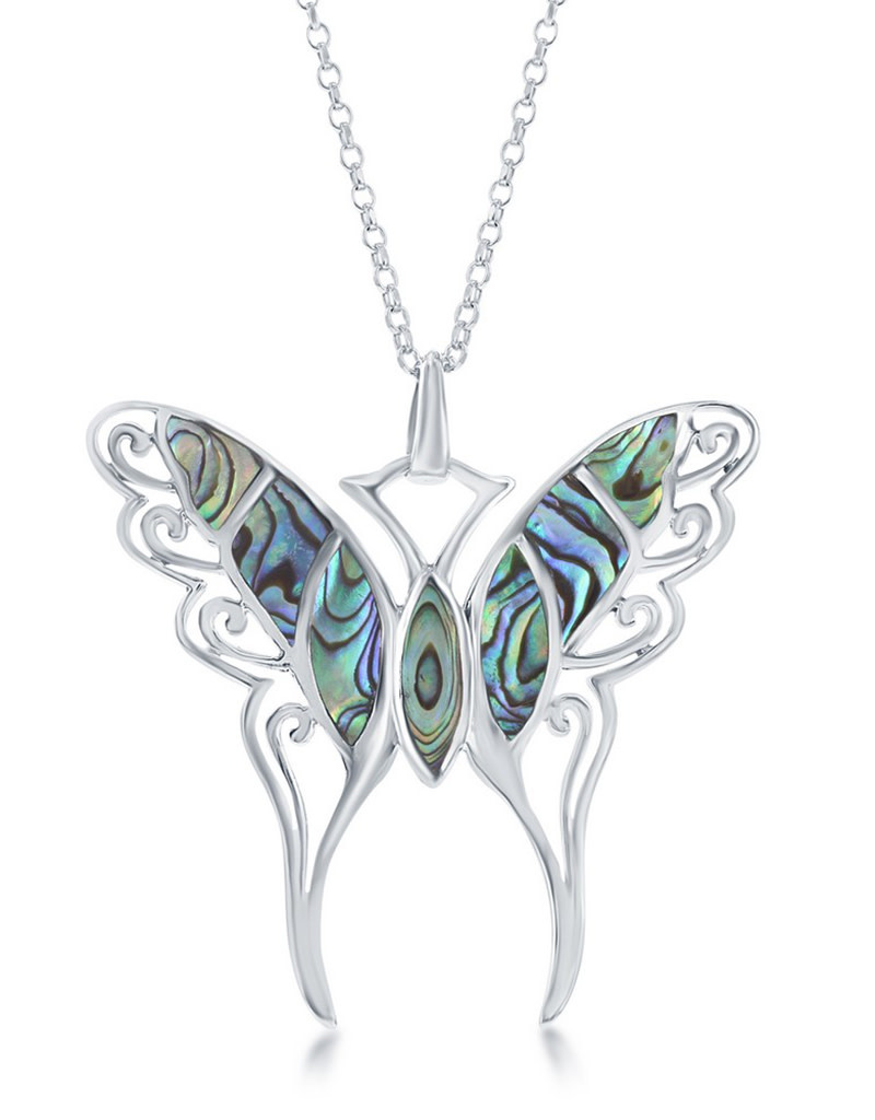 Large Abalone Butterfly Necklace