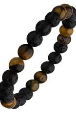 Men's 8mm Black Lava and Tiger Eye Bead Stretch Bracelet