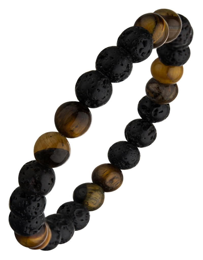 Black Lava Tiger Eye Bead Stretch Bracelet