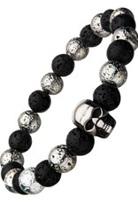 Men's 8mm Black and Silver Lava and Stainless Steel Skull Bead Stretch Bracelet