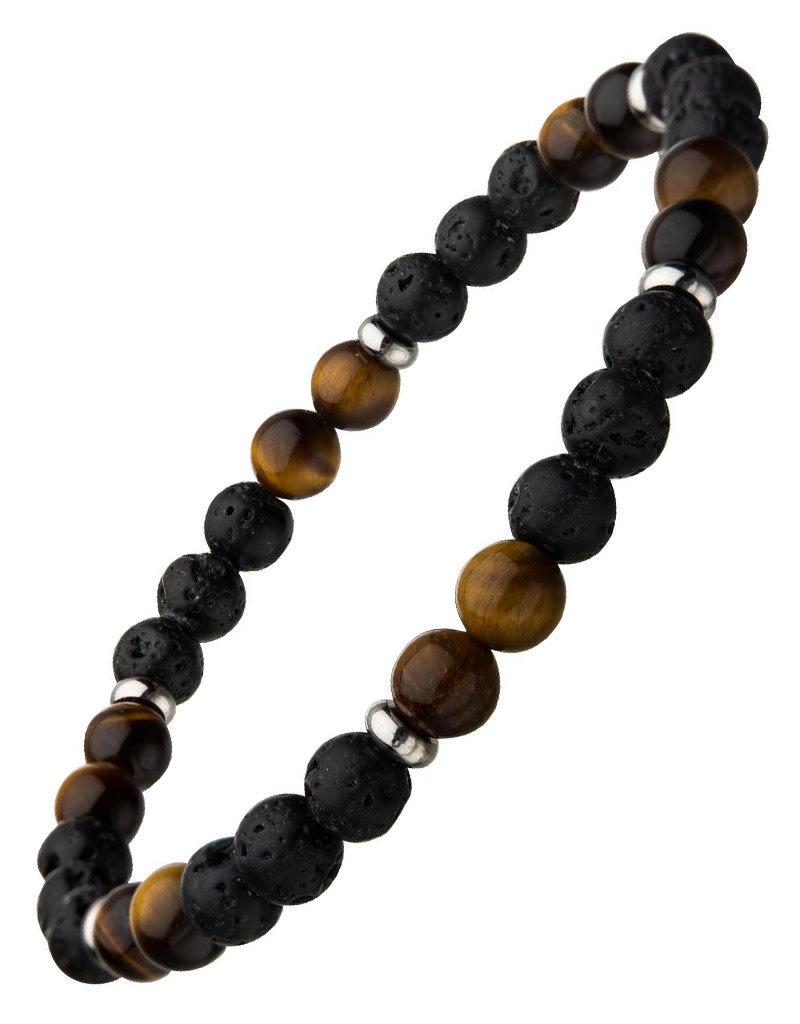 Men's 6mm Black Lava and Tiger Eye Bead Stretch Bracelet