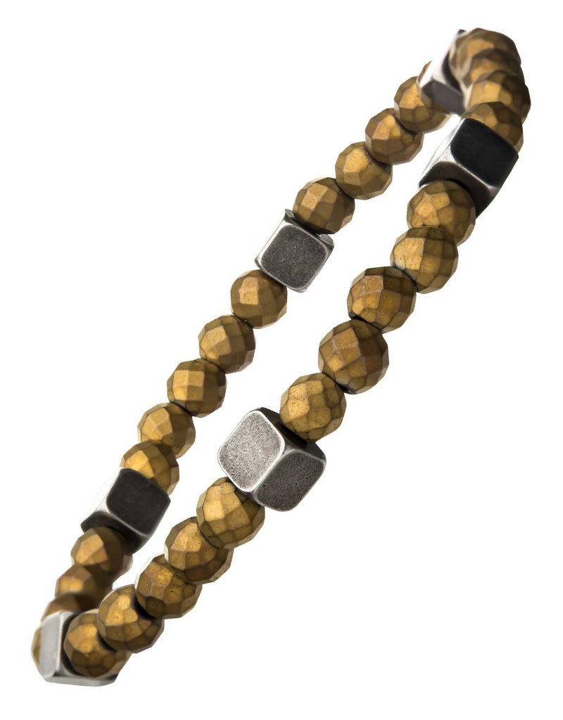 Men's 6mm Gold Hematite and Antique Silver Brass Bead Stretch Bracelet