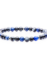 Men's 6mm Sodalite, Onyx and Snowflake Obsidian Bead Stretch Bracelet