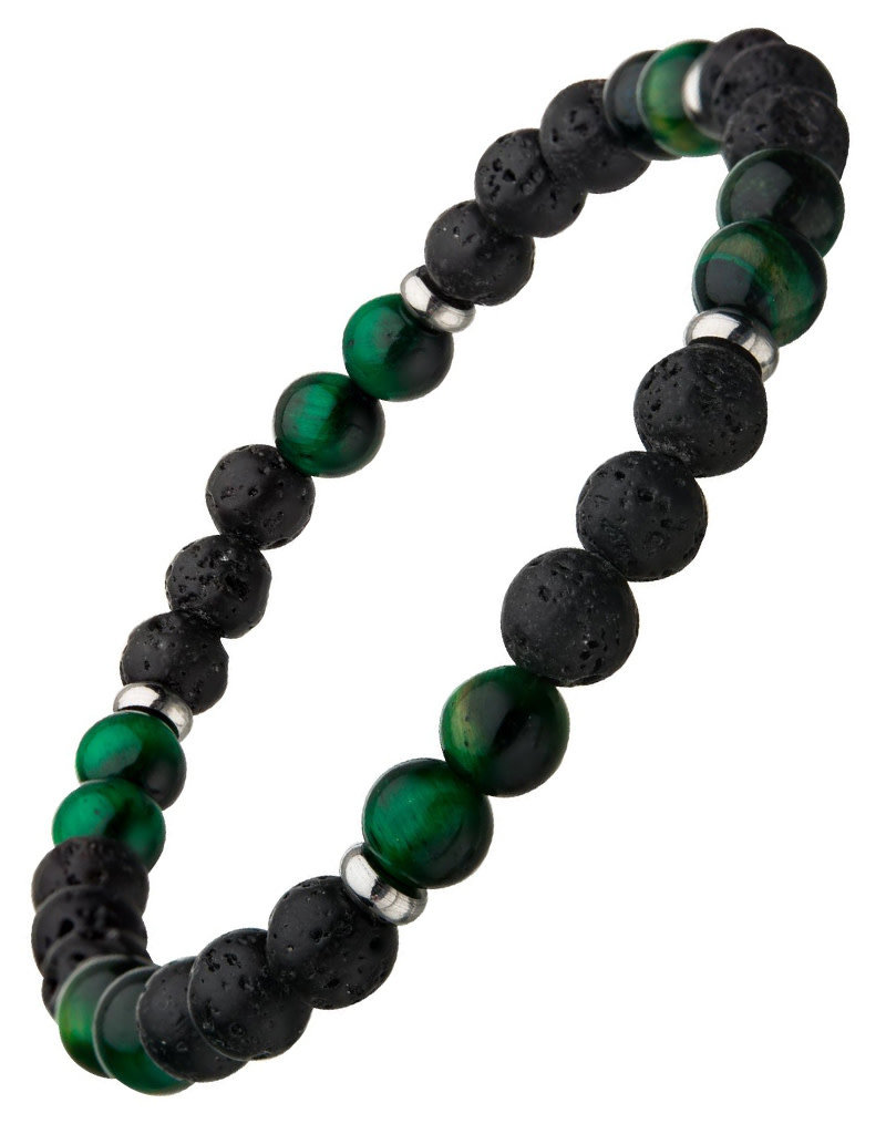 Men's 6mm Black Lava and Green Tiger Eye Bead Stretch Bracelet