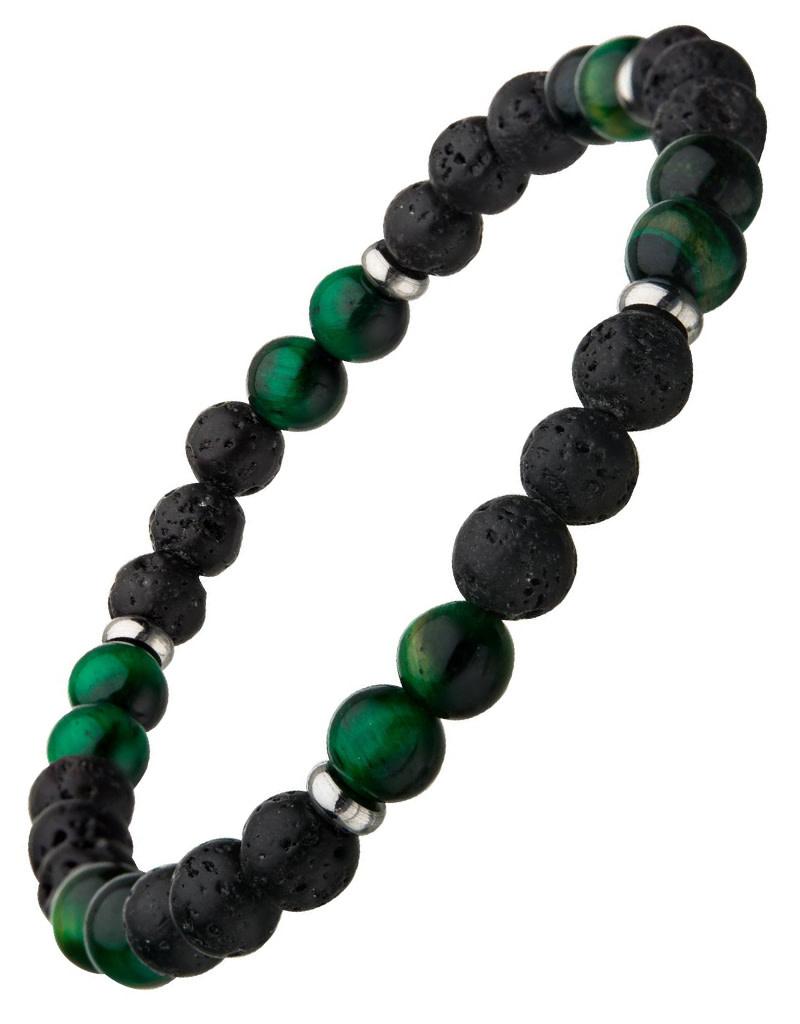 Black Lava Green Tiger Eye Stretch Bracelet
