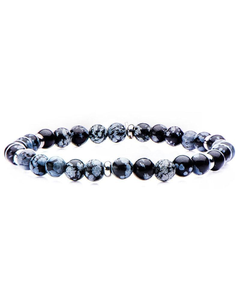 Men's 6mm Snowflake Obsidian Bead Stretch Bracelet