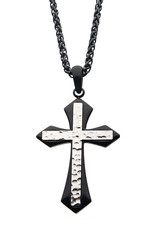 """Men's Two-Tone Black Stainless Steel Gothic Cross Necklace 24"""""""
