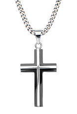 Men's Stainless Steel 3-D Black Cross Necklace 24""