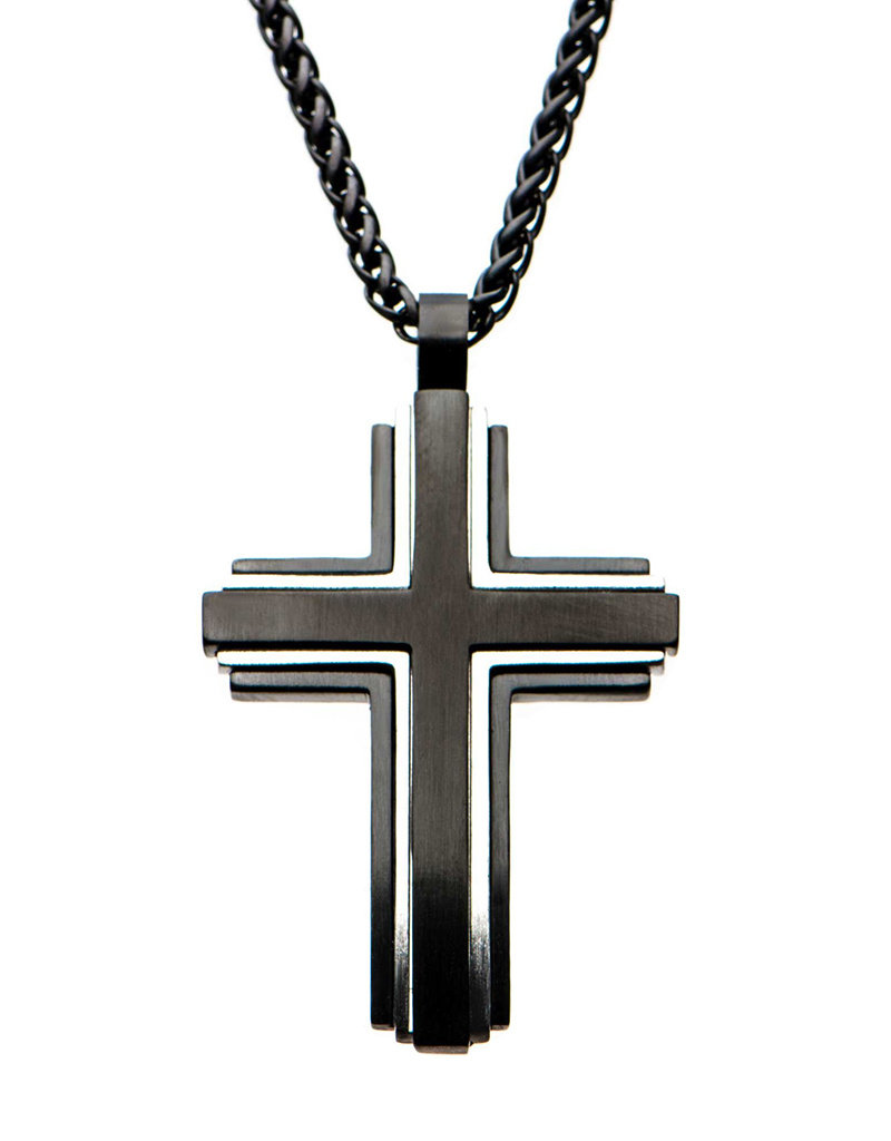 "Men's Antique Black Stainless Steel Cross Necklace 24"""