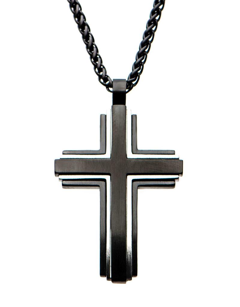 Antique Black Cross Necklace 44mm