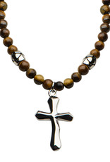 """Men's 6mm Tiger Eye Bead and Stainless Steel Cross Necklace 30"""""""