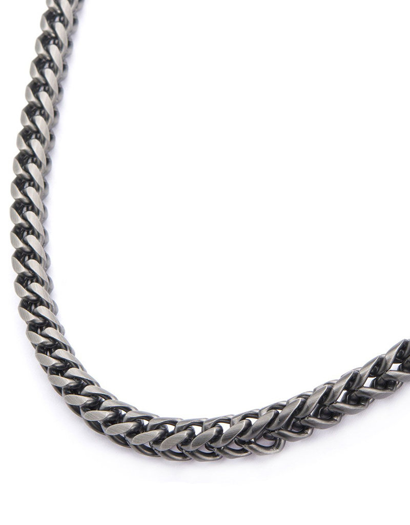 """Men's 6mm Gunmetal Stainless Steel Foxtail Link Necklace 24"""""""