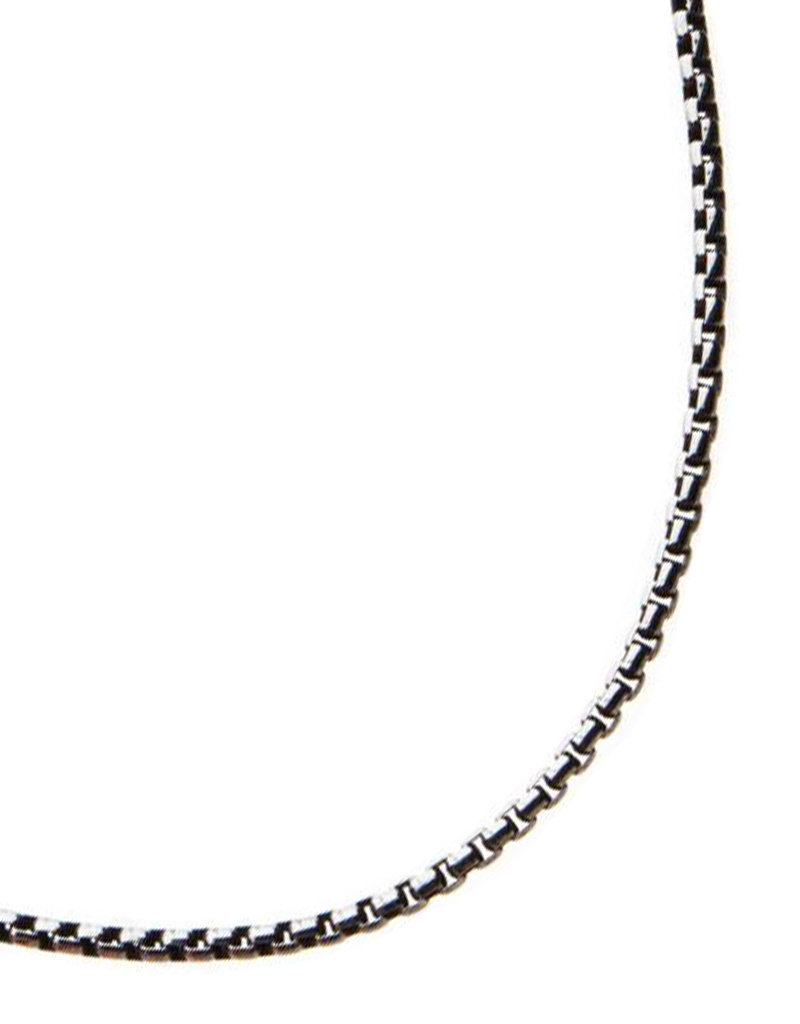 Men's 2.4mm Black Oxidized Stainless Steel Box Link Chain Necklace 24""