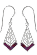 Sterling Silver Kite Purple Turquoise Earrings 18mm
