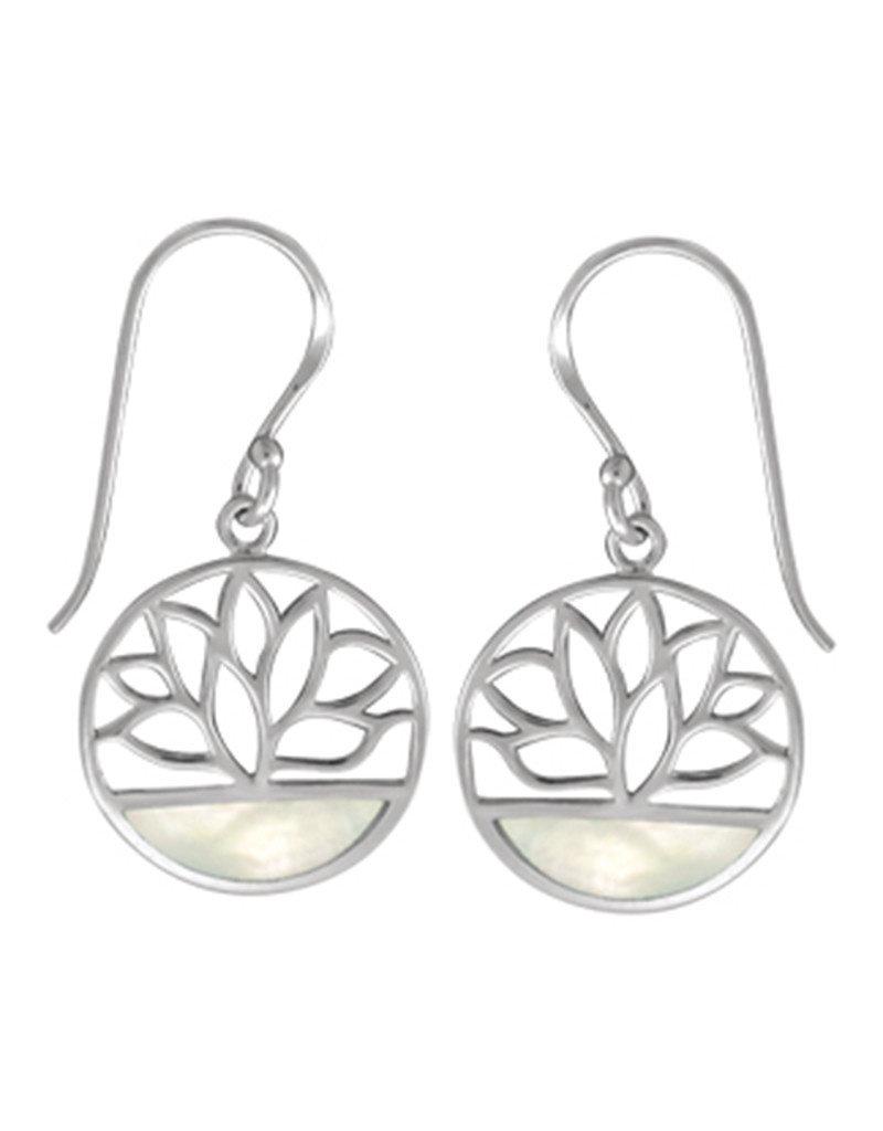 Sterling Siver Mother of Pearl Lotus Flower Earrings 15mm