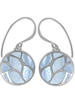Sterling Silver Round Blue Mother of Pearl Earrings 14mm