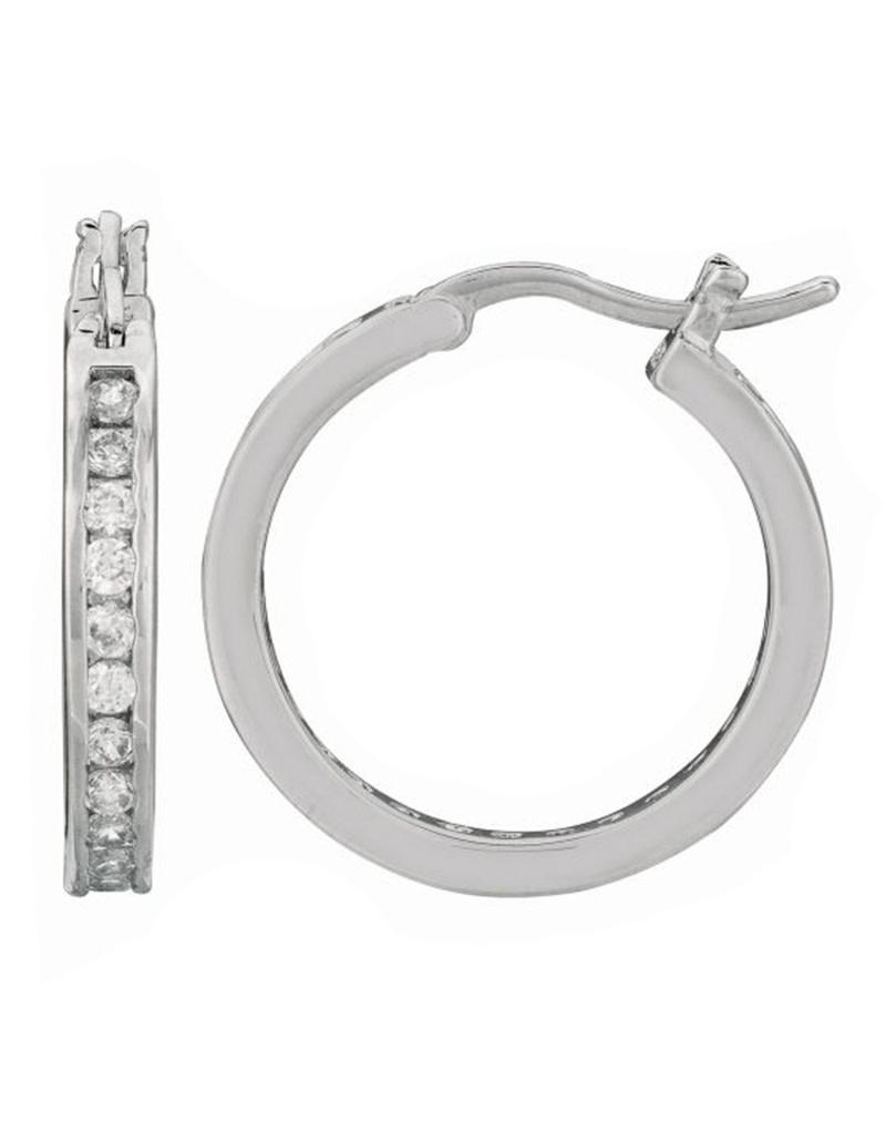 Channel Set CZ Hoop Earrings 21mm